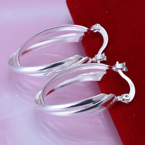 Sterling Silver Bent Lining Hoops - rubiquejewelry.com