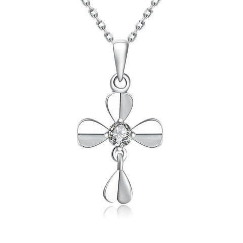 White Gold Plated Modern Cross Necklace - rubiquejewelry.com
