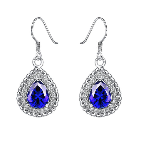 White Gold Plated Saphire Gem Encrusted Drop Downs - rubiquejewelry.com