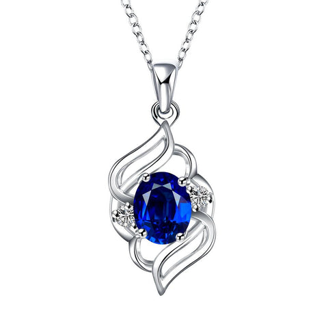 Curved Abstract Petite Sapphire Pendant Necklace - rubiquejewelry.com