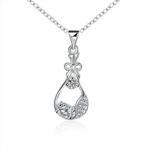 Crystal Jewels Curved Pendant Drop Necklace - rubiquejewelry.com