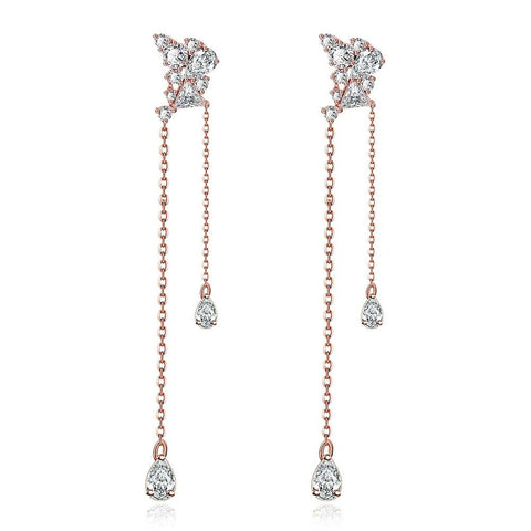 Rose Gold Plated Duo Dangling Earrings - rubiquejewelry.com