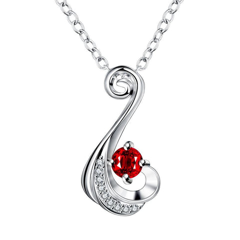 Petite Ruby Red Spiral Drop Necklace - rubiquejewelry.com