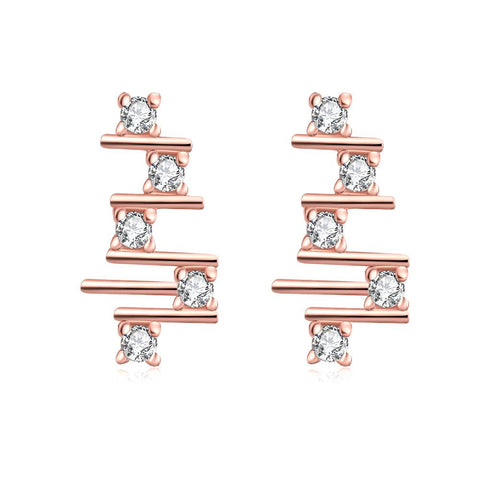 Rose Gold Plated Abstract Horizontal Lines Drops - rubiquejewelry.com