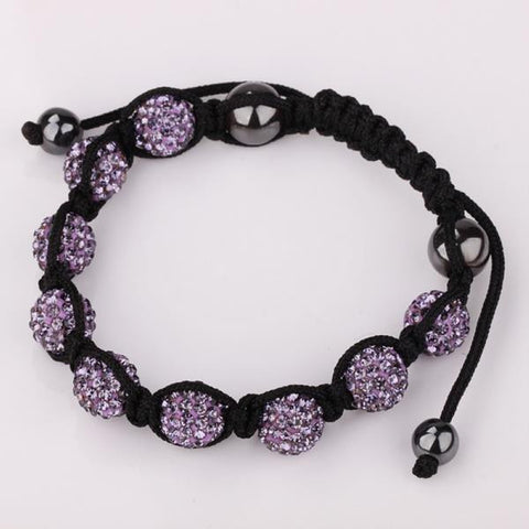 Hand Made Eight Stone Swarovksi Elements Bracelet- Bright Lavender - rubiquejewelry.com