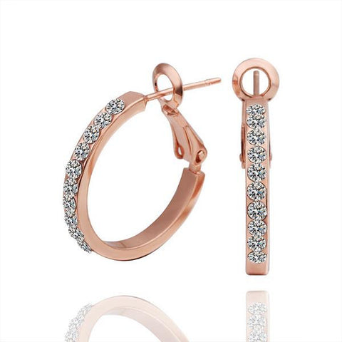 18K Rose Gold Hoop Earrings Covered with Jewels Made with Swarovksi Elements - rubiquejewelry.com