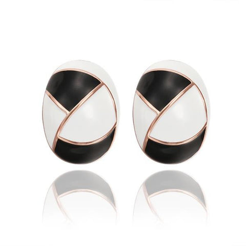 18K Rose Gold Inline Acorn Shaped Onyx & Ivory Stud Earrings Made with Swarovksi Elements - rubiquejewelry.com