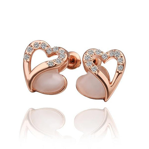 18K Rose Gold Hollow Heart Stud Earrings with Gem Made with Swarovksi Elements - rubiquejewelry.com