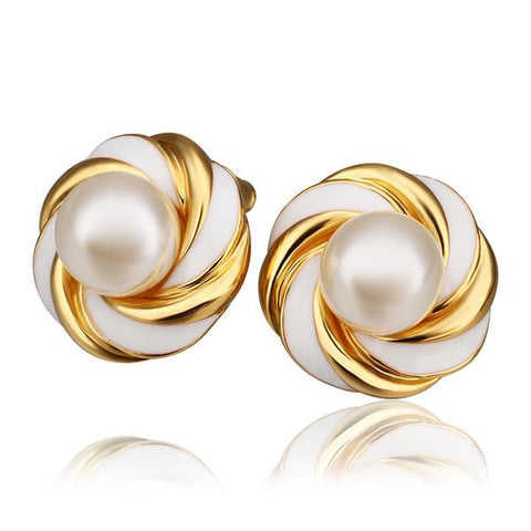 18K Gold Intertwined Love Knot Stud Earrings Made with Swarovksi Elements - rubiquejewelry.com