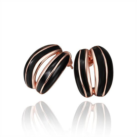 18K Rose Gold Ivory Covering Inline Stud Earrings Made with Swarovksi Elements - rubiquejewelry.com