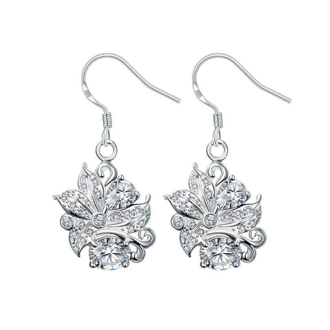 Crystal Stone Floral Jewels Covering Drop Earrings - rubiquejewelry.com