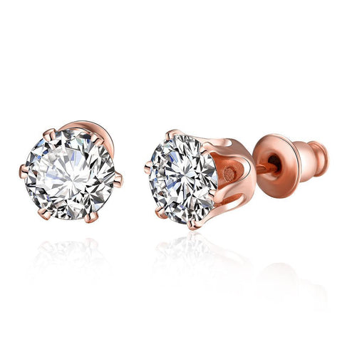 Rose Gold Plated Diamond 4CT Studs - rubiquejewelry.com