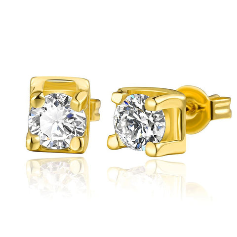 18K Gold Classic Stud Earrings with Crystal Gem Made with Swarovksi Elements - rubiquejewelry.com