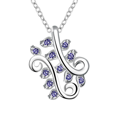 Mock Saphire Curved Floral Orchid Drop Necklace - rubiquejewelry.com