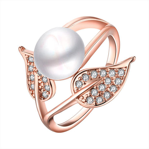 Rose Gold Plated Cultured Pearl Duo-Leaf Ring - rubiquejewelry.com