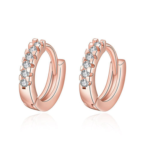Rose Gold Plated Petite Jewels Covering Hoop Earrings - rubiquejewelry.com