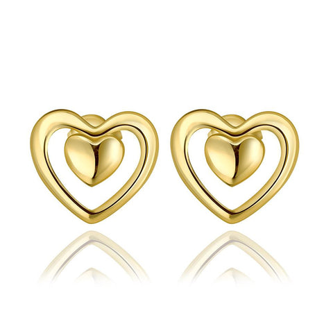 18K Gold Petite Heart Shaped Stud Earrings Made with Swarovksi Elements - rubiquejewelry.com