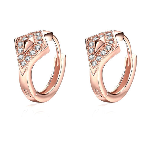 Rose Gold Plated Diamond Shaped Encrusted Mini Hoop Earrings - rubiquejewelry.com