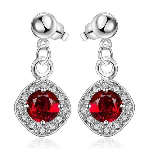 Sterling Silver Ruby Gem Classical Drop Drop Earring - rubiquejewelry.com