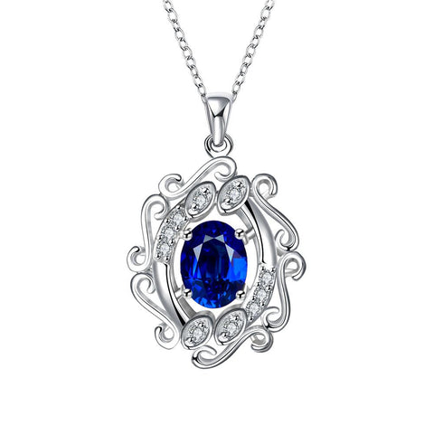 Blossoming Spiral Sapphire Drop Necklace - rubiquejewelry.com