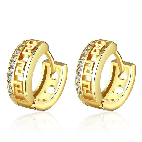 Gold Plated Laser Cut Ingrain Hoops - rubiquejewelry.com