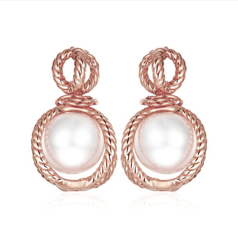 18K Rose Gold Classic Roman Drop Earrings Made with Swarovksi Elements - rubiquejewelry.com