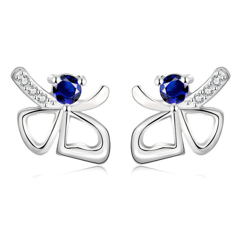 White Gold Plated Double Hearts Saphire Gem Studs - rubiquejewelry.com