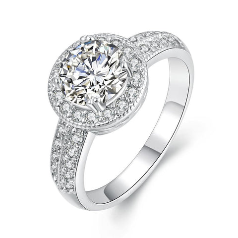 White Gold Geometric Diamond Simulated Ring - rubiquejewelry.com