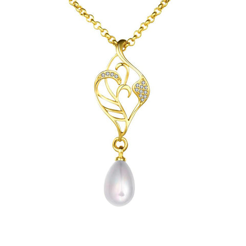 Gold Coloring Laser Cut Cultured Pearl Emblem Necklace - rubiquejewelry.com
