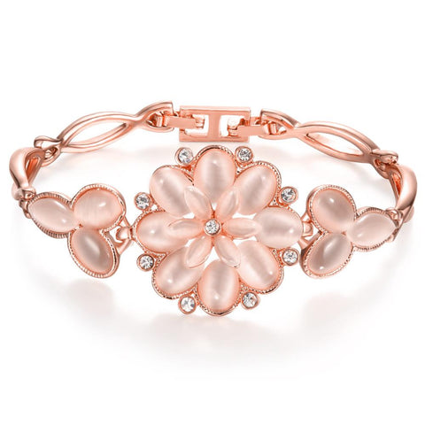 18K Rose Gold Bracelet with Large Rose Petal Emblem with Swarovski Elements - rubiquejewelry.com