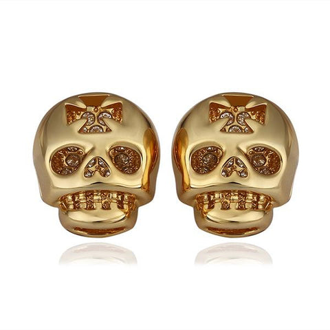 18K Gold Skull Shaped Stud Earrings Made with Swarovksi Elements - rubiquejewelry.com