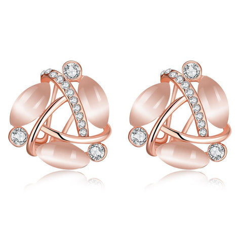 18K Rose Gold Fifth Ave Design Stud Earrings Made with Swarovksi Elements - rubiquejewelry.com