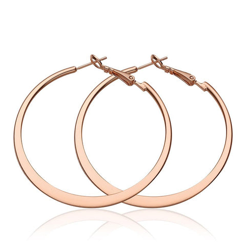 18K Rose Gold Classic New York Hoop Earrings Made with Swarovksi Elements - rubiquejewelry.com