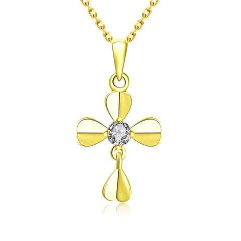 Gold Plated Modern Cross Necklace - rubiquejewelry.com