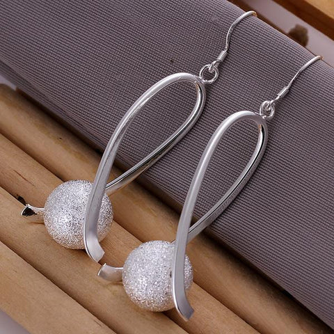 Sterling Silver Pearl Curved Earring - rubiquejewelry.com