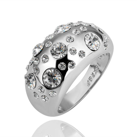 White Gold Plated Diamond Jewels Ring - rubiquejewelry.com