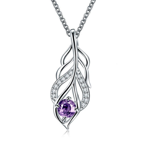 Purple Citrine Dangling Leaf Branch Necklace - rubiquejewelry.com