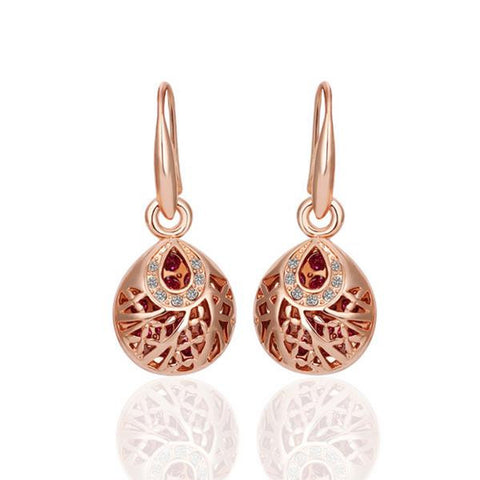 18K Rose Gold Drop Down Laser Cut Circle Earrings Made with Swarovksi Elements - rubiquejewelry.com