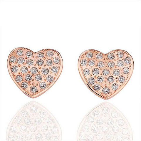 18K Rose Gold Heart Shaped Stud Earrings Made with Swarovksi Elements - rubiquejewelry.com