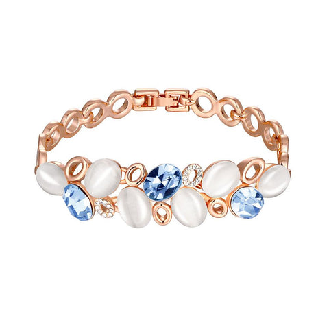 18K Rose Gold Ivory Stones Bracelet with Swarovski Elements - rubiquejewelry.com