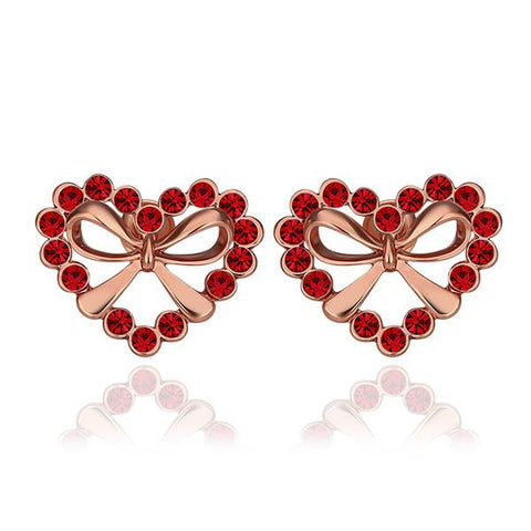 18K Rose Gold Hollow Hearts Covered with Ruby Studs Made with Swarovksi Elements - rubiquejewelry.com