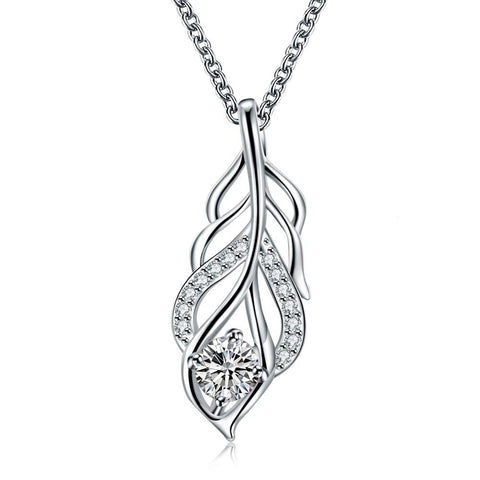 Crystal Stone Dangling Leaf Branch Necklace - rubiquejewelry.com