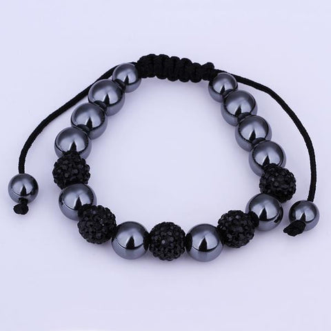 Hand Made Bracelet Stone and Dark Onyx Crystal
