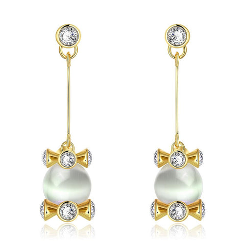 18K Gold Drop Down Earrings with Pearl Center Made with Swarovksi Elements - rubiquejewelry.com