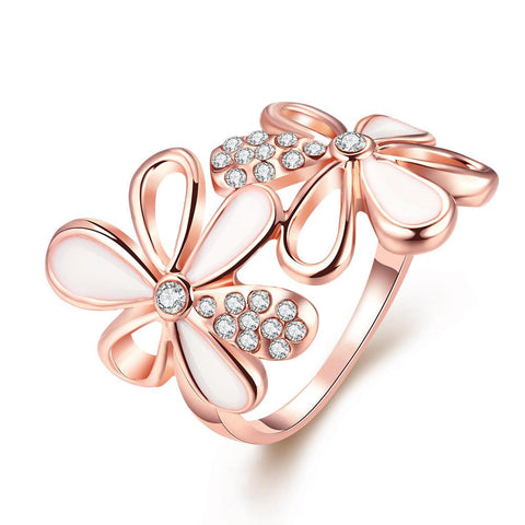 Rose Gold Plated Double Flower Ring - rubiquejewelry.com