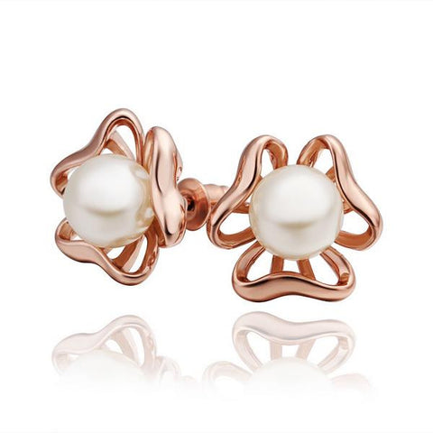 18K Rose Gold Hollow Clover Earrings with Pearls Made with Swarovksi Elements - rubiquejewelry.com