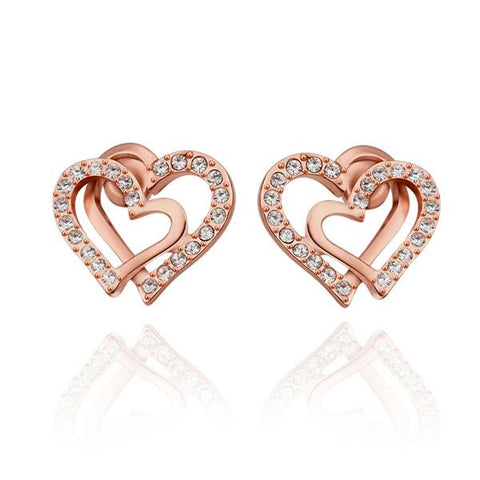18K Rose Gold Intertwined Hearts Studs Made with Swarovksi Elements - rubiquejewelry.com