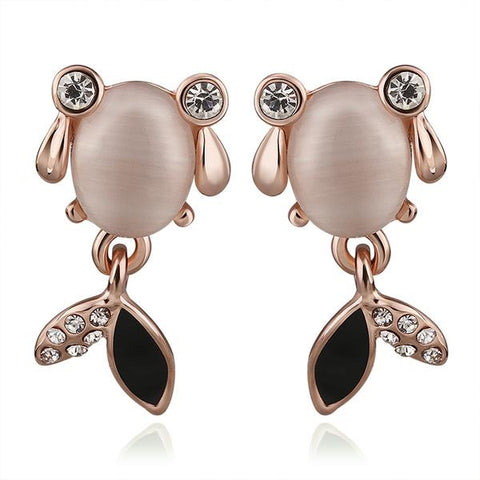 18K Rose Gold Crystal Fish Stud Earrings Made with Swarovksi Elements - rubiquejewelry.com