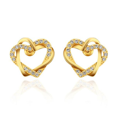 18K Gold Crystal Covered Hollow Hearts Stud Earrings Made with Swarovksi Elements - rubiquejewelry.com