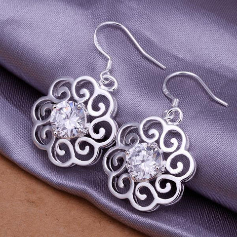 Sterling Silver Laser Cut Floral Stud with Crystal Stones - rubiquejewelry.com